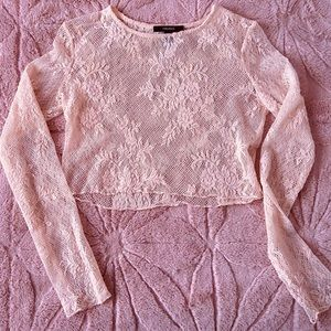 Forever 21 Peach Lace crop top